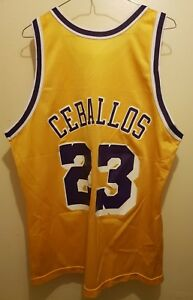 2dc4a8bc0ec NWOT Champion Los Angeles Lakers Cedric Ceballos NBA jersey 44 Lrg ...