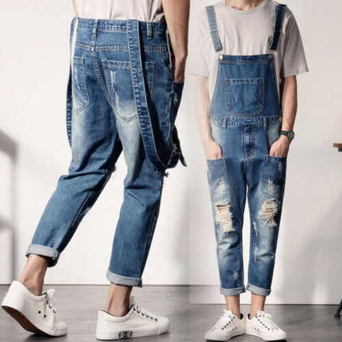 Men/'s Denim Ripped Overalls Bib Pants Suspender Trousers Skinny Jeans S-5XL HOT