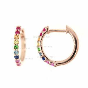14K Gold 0.20 Ct Genuine Multi Sapphire Mini Rainbow Hoop Earrings Fine Jewelry