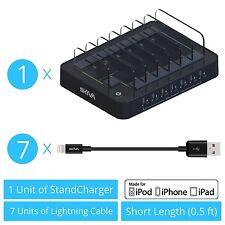 7-Port USB Fast Charging Station Dock (+7 Free Apple MFI Lightning Cables) AC123