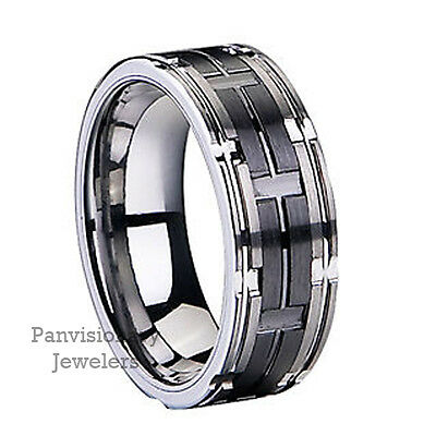 8mm Textured Natural Tungsten & Black Ceramic Inlay Ring Wedding Band Size 13