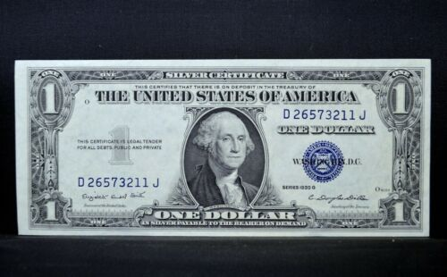 1935-G $1 SILVER CERTIFICATE ✪ GEM UNCIRCULATED ✪ NO MOTTO CONSECUTIVE ◢TRUSTED◣