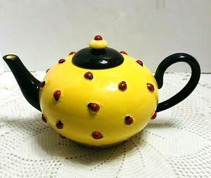 Vtg-Dept-56-Ladybug-Teapot-Bright-Yellow-amp-Black-Raised-Ladybugs-1990-039-s