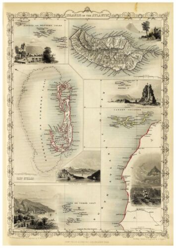 Old Vintage Map of Islands in the Atlantic richly illustrated Tallis 1851