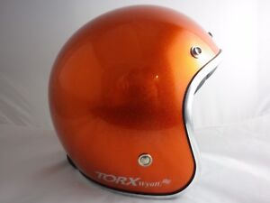 Casque-WYATT-Jet-Retro-Vintage-3-4-Moto-ORANGE-GLITTER-brillant-XS-S-M-L-XL