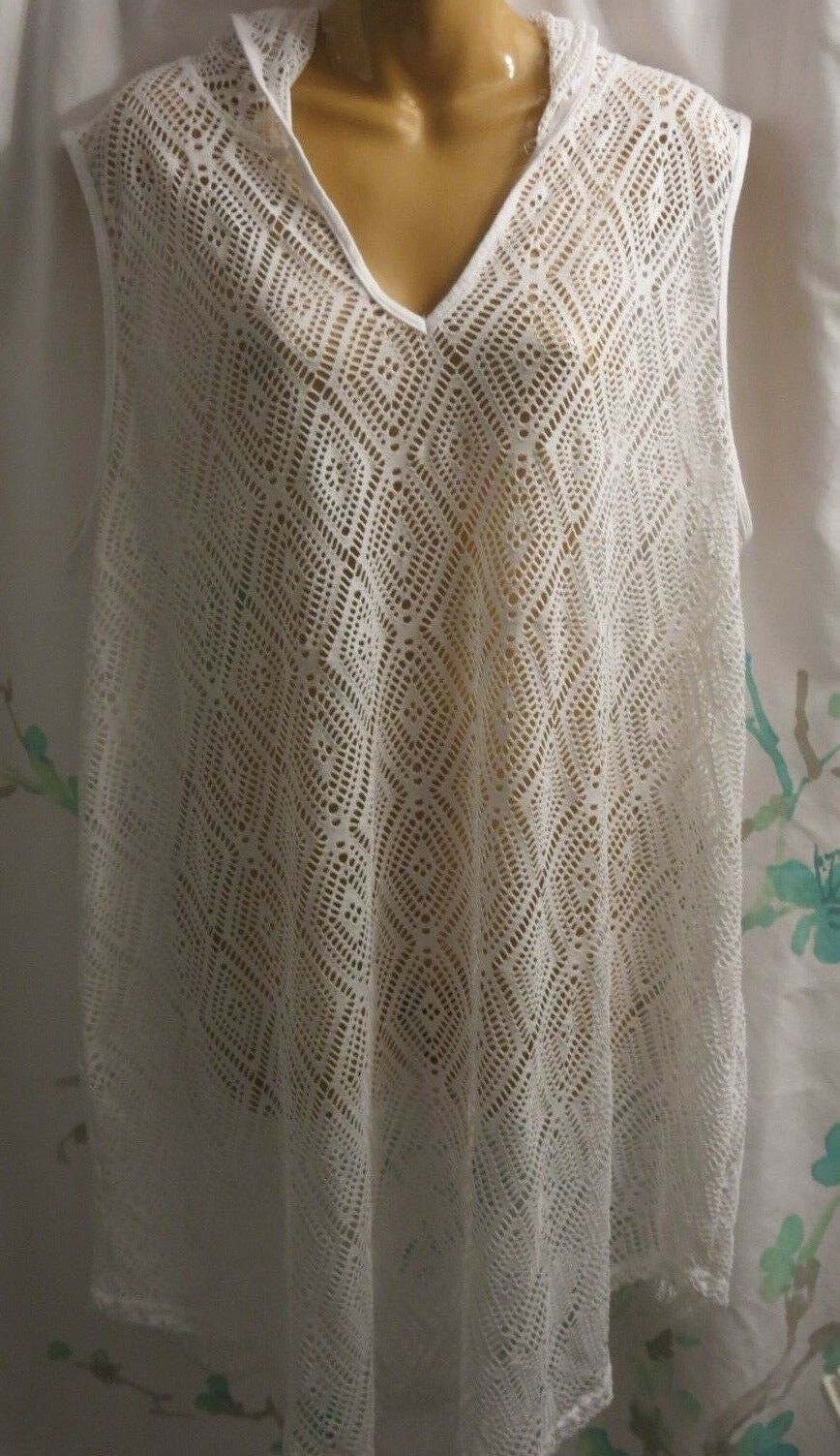 Nimes Cote Azur 3X 3XL Women's White Swimsuit Cover-up Sleeveless Hooded NWT