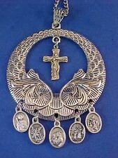 Custom Religious Catholic Saint Medal NECKLACE TRINITY Cross Angel St Jude Chris