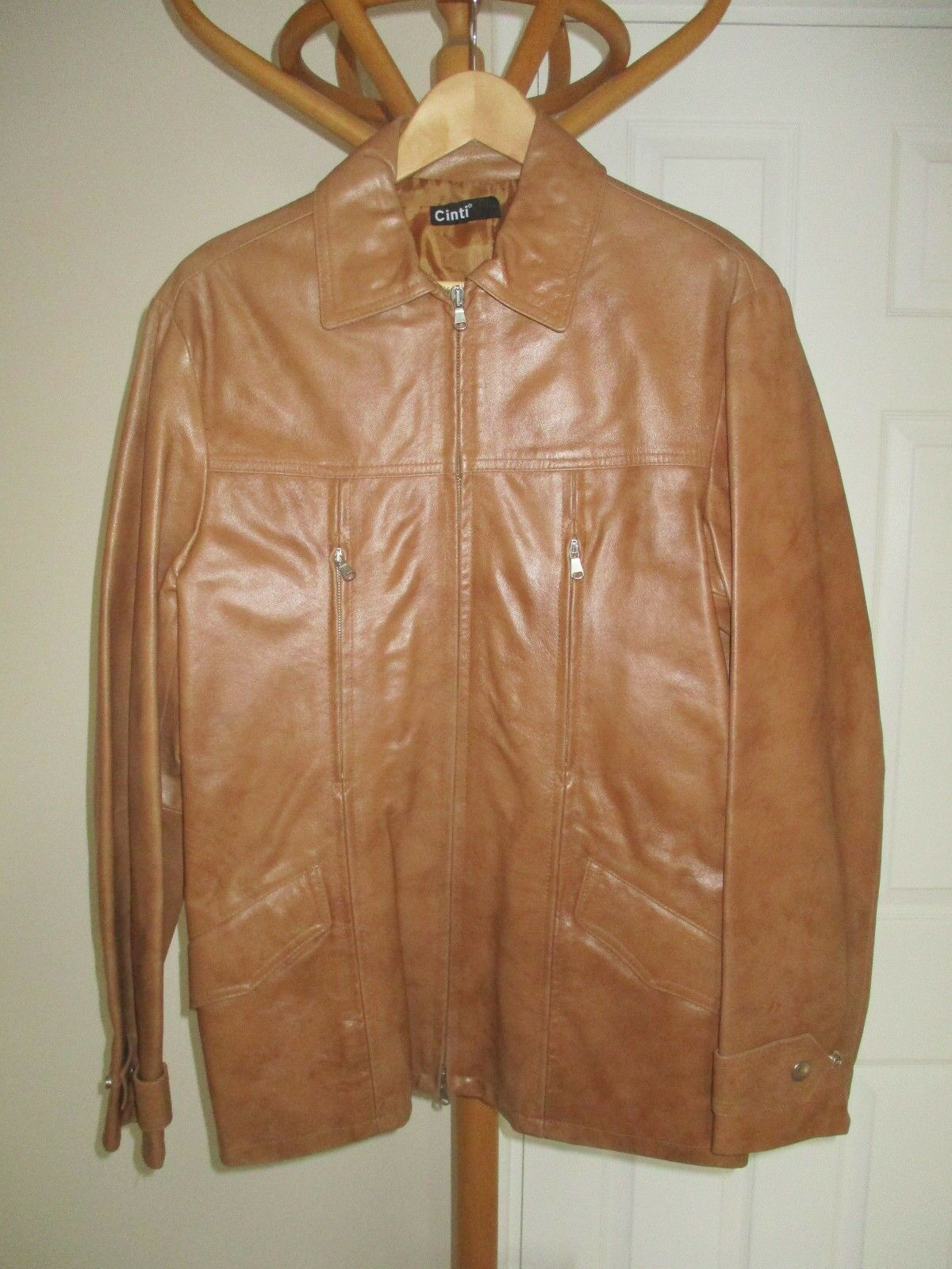 Mens CINTI ITALIAN GENUINE REAL TAN LEATHER COAT SIZE 38  CHEST NEW WITHOUT TAGS