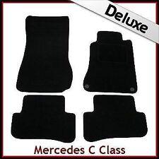Tailored Carpet Mats LUXURY 1300g for MERCEDES C-Class W203 4-Dr 2000-2007 BLACK