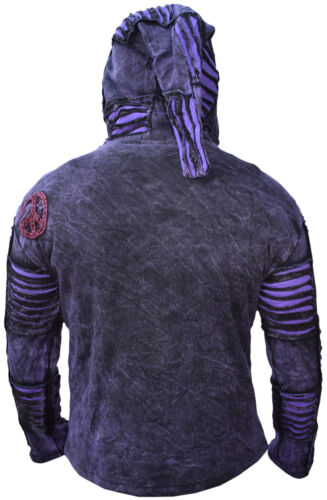 Men Purple Jacket Psychedelic Gothic Fleece lined Embroidery Elf Pointed Hoodie