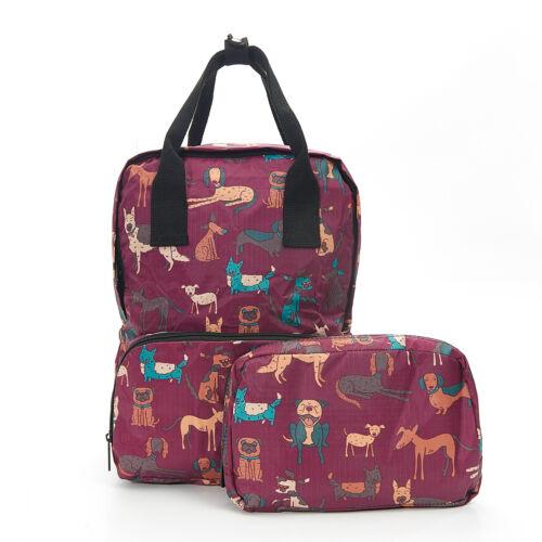 Eco Chic Pedigree Dog Lovers Folding Foldable Travel Backpack Rucksack Weekend