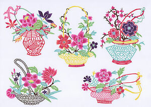 Chinese-Paper-Cuts-Flower-in-Basket-Set-Colorful-10-Small-Pieces-Chen