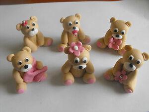 Teddy Bear Edible Cake Cupcake Toppers X 6   eBay