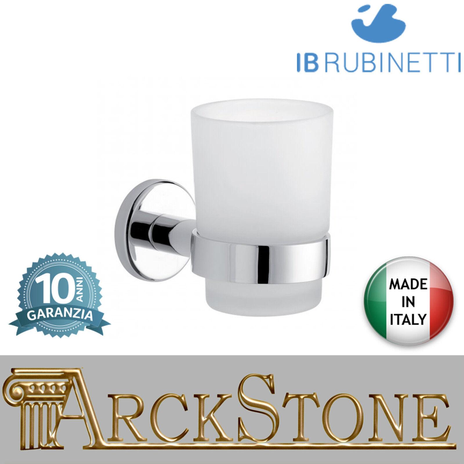 Porte brosse à dents verre dépoli supports laiton chrome IB Rubinetti Moderne
