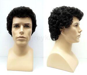 Details about Mens Short Curly Wig Black