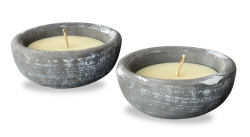 2er Set Kerze 17 x 17cm Kerzenwachs im Zement Topf Beton Grau Weiß Kerzen Deko