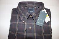 Arrow Size Medium Men's L/s Dark Gray Plaid Heritage Twill Button Down Shirt