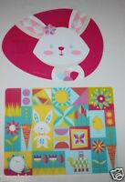 Set Of 2 Bright Easter Print & Easter Bunny Plastic Placemats