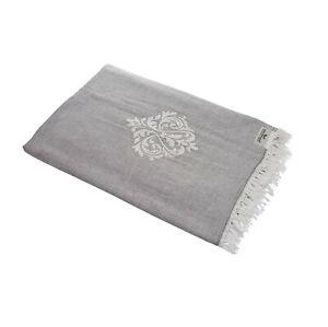 Plaid-Tagesdecke-ORNAMENT-grau-Couchdecke-Sofa-Decke-150-x-200-cm-100-Cotton
