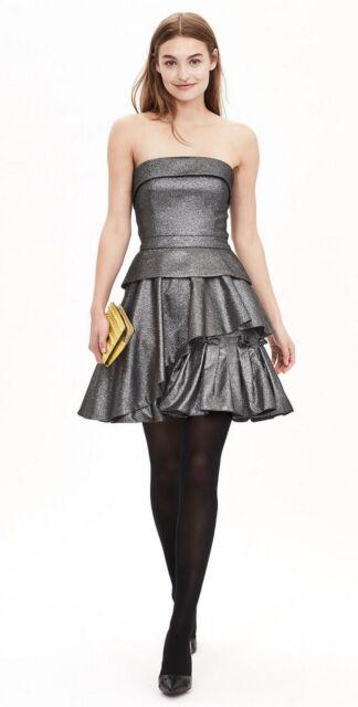 11f4fc6f0d2 Banana Republic Monogram Metallic Pleated Dress Smoke Gray sz 12 ret. 158   NWT!