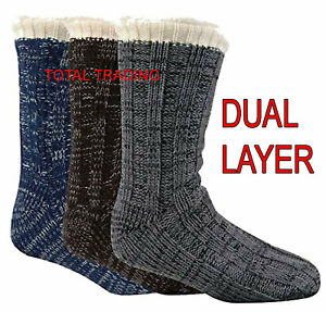 Mens-Luxury-Slipper-Socks-gripper-thermal-lounge-cosy-pack-faux-fur-lined