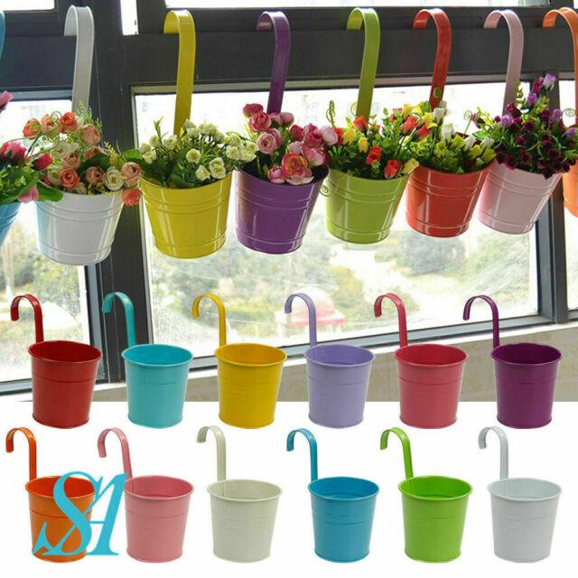 Garden Metal Flower Pots Wall Hanging Tin Baskets Bucket Plant Herb Planter UK
