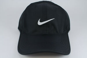 73bb48d6ae7 NIKE FEATHER LIGHT DRI-FIT ADJUSTABLE CAP HAT BLACK WHITE TRAINING ...