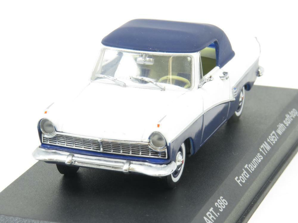 Detail Cars ART 386 Ford Taunus 17M 157 Soft Top White bluee 1 43 Scale Boxed