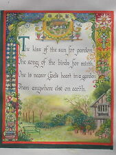 English Garden illuminated manuscript hand-painted unique folk art poetry SCARCE