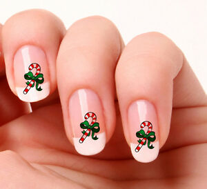 20 Nail Art Decals Transfers Stickers 513 Christmas Candy Cane