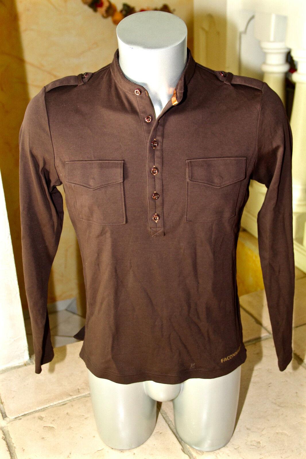 Carino maglione di cotone marrone FAÇONNABLE taglia S NUOVO