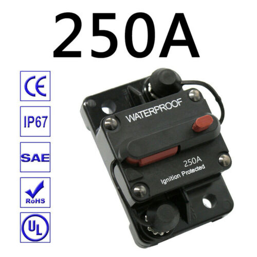 30A-300A Car Audio Inline Circuit Breaker Fuse Holder 12-48V Manual Reset Switch