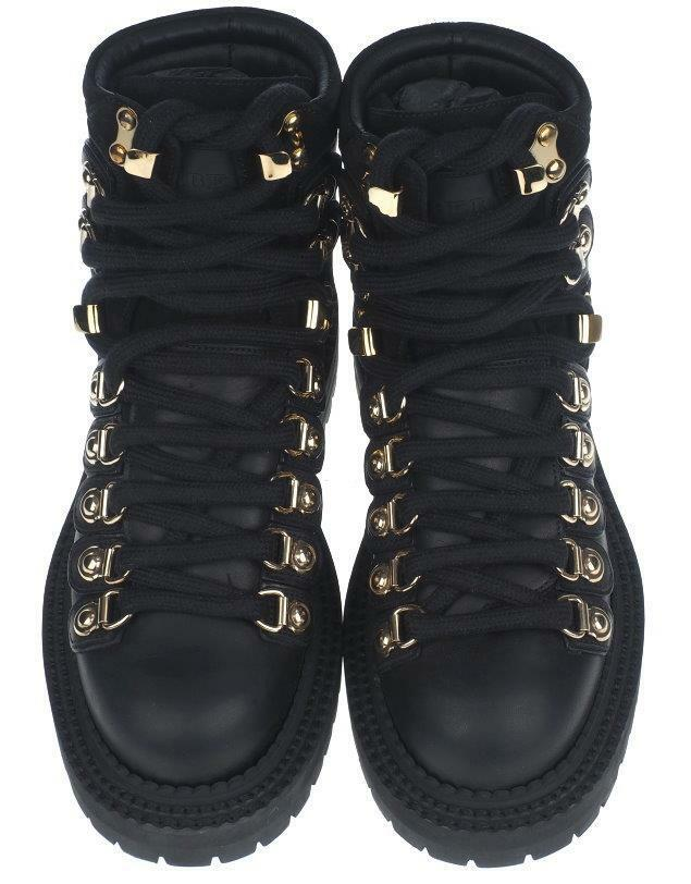 NEW BURBERRY LADIES negro LEATHER zapatos MOTO COMBAT LACE-UP botas zapatos LEATHER 40 10 e0ef68