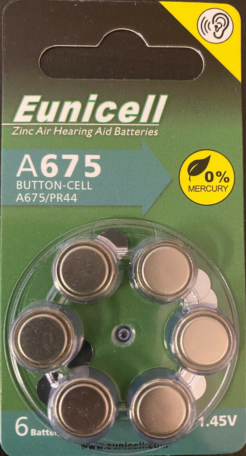 48 pcs A675 PR44 B10 Size 675 Card 1.5V Zinc Air Hearing Aid Battery