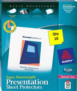 Qty 10 Avery 74130 Super Heavyweight Presentation Sheet Protectors