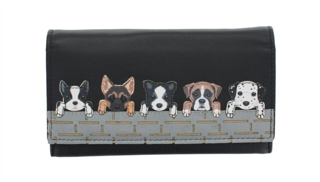 BNWT Mala Leather Best Friends Grey Dogs Coin Purse Navy