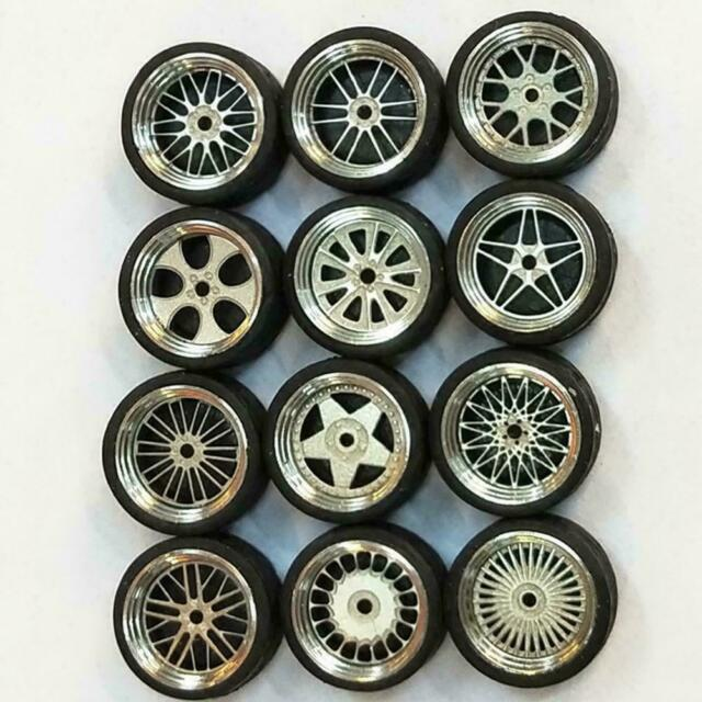 4Pcs Automobile Car Tires Model with Axles Wheels Car Model Toy 1:64 Scale F1V6