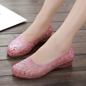 Details about Summer Women Beach Jelly Shoes Sandals Glitter Crystal Hollow Out Mesh Flats