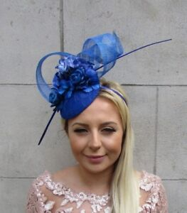 Royal Blue Rose Flower Feather Pillbox Hat Hair Fascinator Races ... 91790acb86a