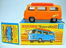 MATCHBOX SUPERFAST n. 23a VW Camper Orange Arancione Rare istituzione
