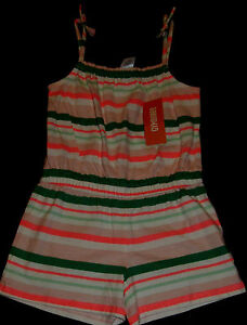 Gymboree Island Cruise striped knit shorts romper NWT 8 neon pink green