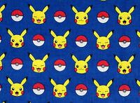 Pokemon 100% Cotton Fabric Pikachu Robert Kaufman Pocket Monsters Yardage