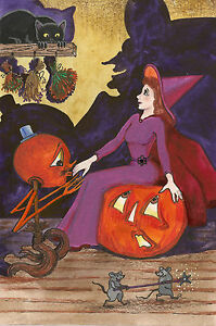 4X6-HALLOWEEN-POSTCARD-PRINT-LE-5-27-RYTA-VINTAGE-STYLE-JOL-WITCH-ART-CAT-FOLK