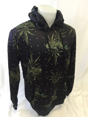 Mens Pull Over SWEATSHIRT HOODY Marijuana Weed Plant Black S M L XL 2XL NWT NEW