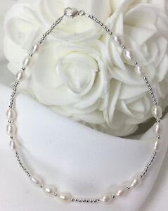 Triple-Genuine-White-Pearl-Sterling-Silver-Bracelet-or-Ankle-Bracelet-2737