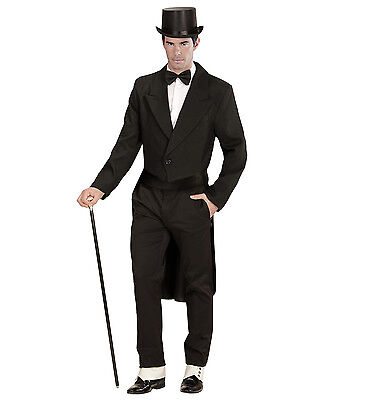 TAILCOAT BLACK FANCY DRESS COSTUME MAN/'S LINED DANCE THEATRICAL VICTORIAN GENT