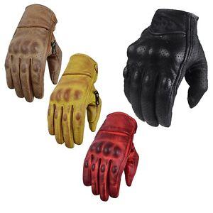 Details zu Motorradhandschuhe Sommer Handschuhe Herren Motorrad Leder Handschuhe Schwarz