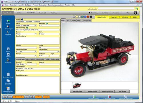 Software Modellautoverwaltung für Matchbox-Modelle 2 Programm