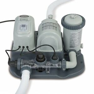 Intex-120V-Krystal-Clear-Saltwater-System-Pool-Chlorinator-amp-Filter-Pump