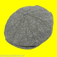 Grey Flat Cap 8 Panel Newsboy Baker Boy Gatsby Peaky Blinders Jaxon Herringbone